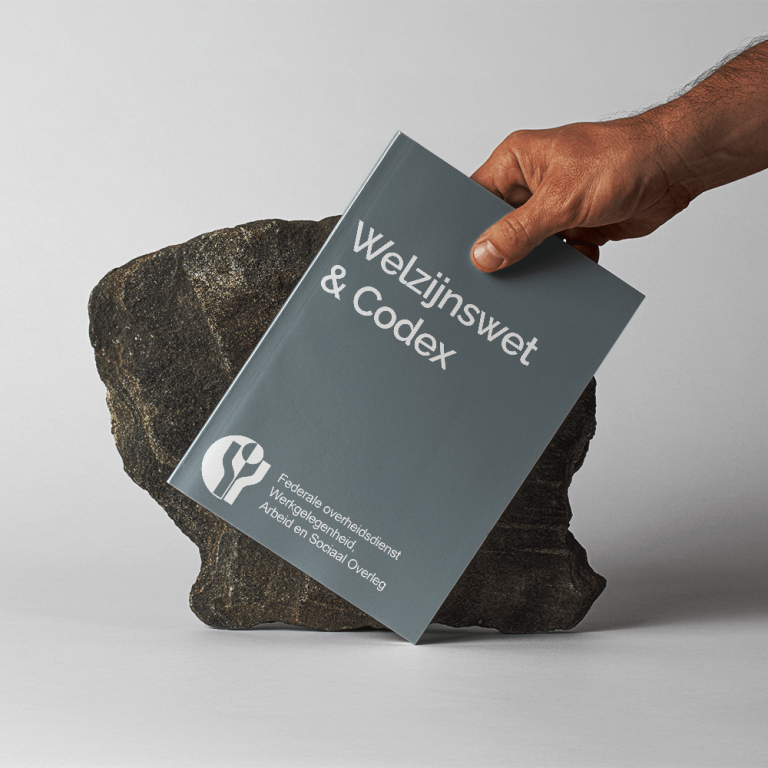welzijnswet book held in front of a stone